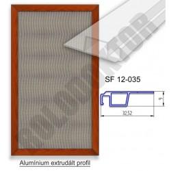 Fix keretes szúnyogháló 9 x 32mm peremes alumínium extrudált profilból, rögzítése fém riglivel