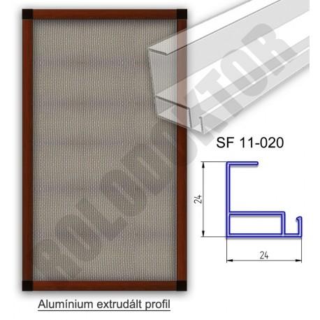 Alumínium fix keretes szúnyogháló 24 x 24mm, műanyag riglivel