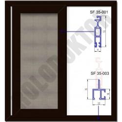 Alumínium toló szúnyogháló ajtó EGYSZÁRNYAS, saját kerettel, merevítő nélkül