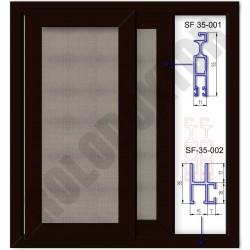 Alumínium toló szúnyogháló ajtó KÉTSZÁRNYAS, saját kerettel, merevítő nélkül