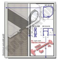 Alumínium rolós szúnyogháló ajtó SZÖGLETES tokkal, KIEMELT LEFUTÓVAL - MÁGNESES záródással