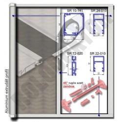 Alumínium rolós szúnyogháló ajtó SZÖGLETES tokkal, ZSINÓROS nyílásszabályozóval -  MÁGNESES záródással