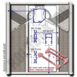 Alumínium 2 szárnyú rolós szúnyogháló ajtó SZÖGLETES tokkal, CSUSZKAZÁRAS - MÁGNESES záródással