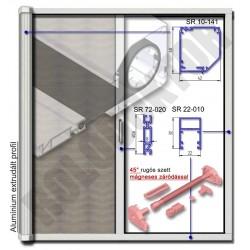 Alumínium rolós szúnyogháló ajtó SZÖGLETES tokkal, MÁGNESES záródással