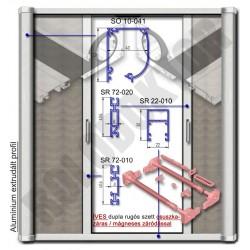 Alumínium 2 szárnyú rolós szúnyogháló ajtó ÍVES tokkal, CSUSZKAZÁRAS - MÁGNESES záródással