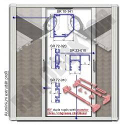 Alumínium 2 szárnyú rolós szúnyogháló ajtó SZÖGLETES tokkal, KIEMELT LEFUTÓVAL, CSUSZKAZÁRAS - MÁGNESES záródással