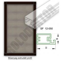 Fix keretes szúnyogháló 18 x 32mm műanyag extrudált profilból, rögzítése tükörgomb vagy csipesz